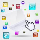 Laptop and application icons. The concept of software poster