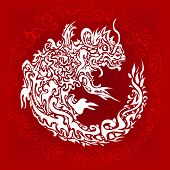 Red background with a stylized twisted dragon tattoo poster