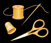 Engraved & embossed embroidery scissors, thimble, needle, spool of golden thread for needlecraft, sewing, tailoring, quilting,  textile arts and do it yourself projects. EPS8 compatible; organized in groups for easy editing. poster