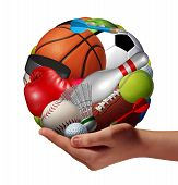 Active lifestyle concept and fun and games symbol with a hand holding a group of sports equipment shaped as a ball as a healthy fitness metaphor for offering physical activity recreation to youth as a pastime. poster