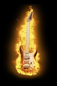 Guitar in flame