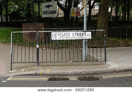 Heygate Estate sign, London