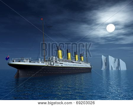 Computer generated 3D illustration with the Titanic and an Iceberg poster
