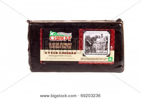 Hayward, CA - July 27, 2014: Cabot brand Classic Vermont Cheddar Cheese, a 3 year old Cheddar cheese from Cabot Creamery Cooperative, Cabot, VT
