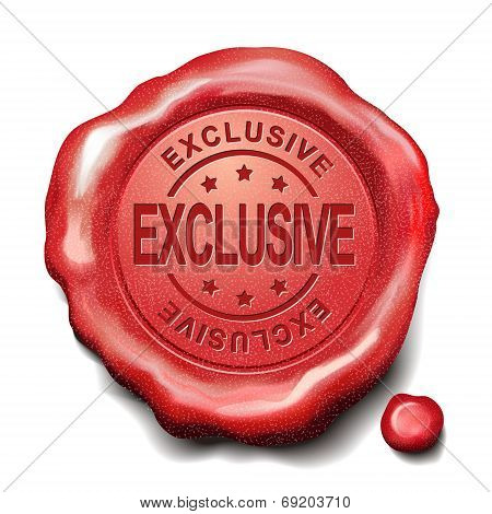 exclusive red wax seal over white background poster
