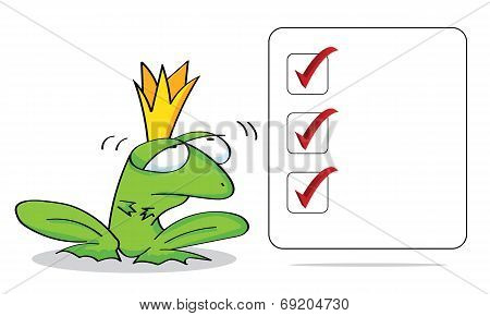 Checklist. Frog prince with a blank sign.