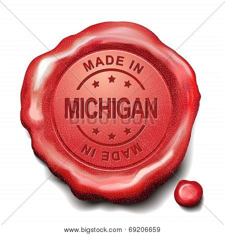 Made In Michigan Red Wax Seal