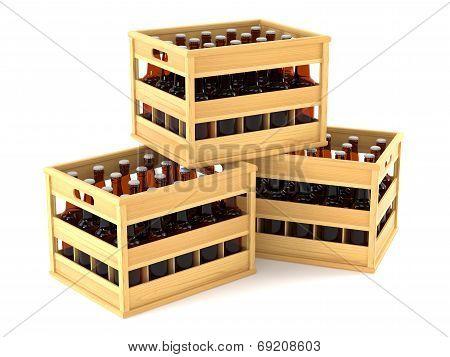Bottles In Wooden Crates