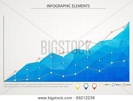Blue Business Chart Graph With Three Lines Of Increase