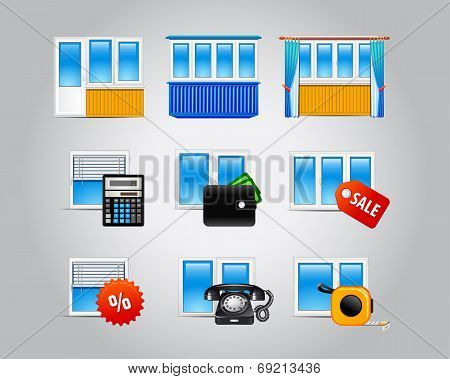 Window and glass doors logo list. Set of vector web icons of plastic windows for building industry, repairs, architectural company. Windows, doors equipment business symbols for internet webpage.