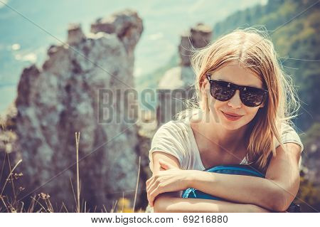 Woman Traveler Hiking In Mountains With Beautiful Summer Landscape On Background Mountaineering Spor