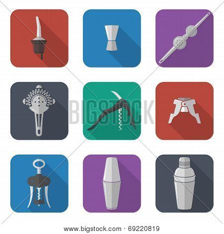 barmen equipment icons set