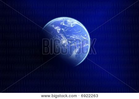 blue planet on dark background with blur digits poster