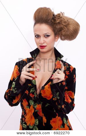 Young Woman With Hairstyle Isolated