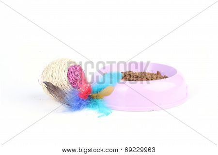 Cat Toy With Dry Cat Food In A Bowl