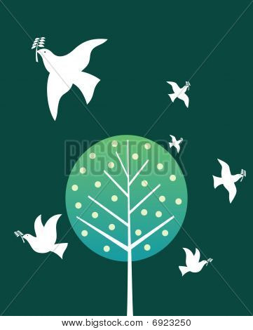 At the mouth of a beautiful peace dove carrying olive branch poster