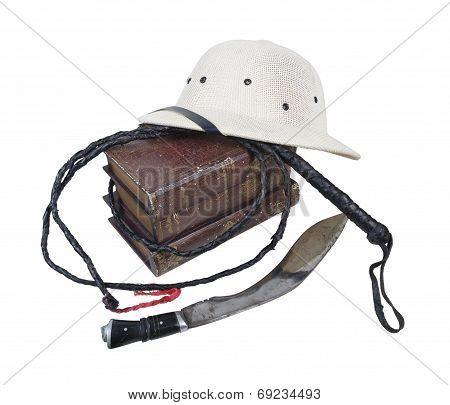 Exploration Adventure Books Pith Helmet Whip Dagger