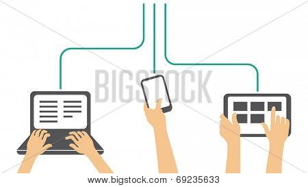 working on all types of devices - laptop, phone, tablet - vector illustration