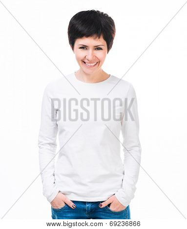 Young beautiful woman with blank white long sleeve shirt.