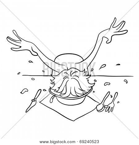 Drunk man with his head in a plate, vector illustration