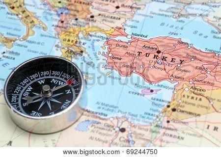 Travel Destination Turkey, Map With Compass