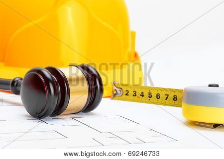 Wooden Judge Gavel With Measure Tape And Protective Helmet - Studio Shoot