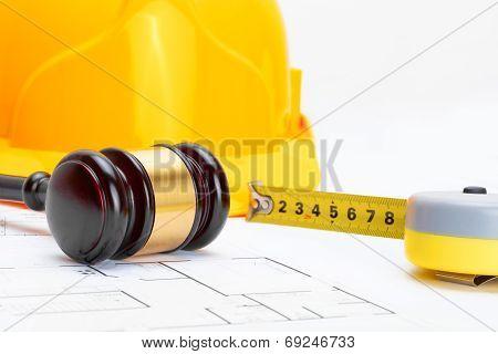 Wooden Judge Gavel With Measure Tape And Protective Helmet - Studio Shoot