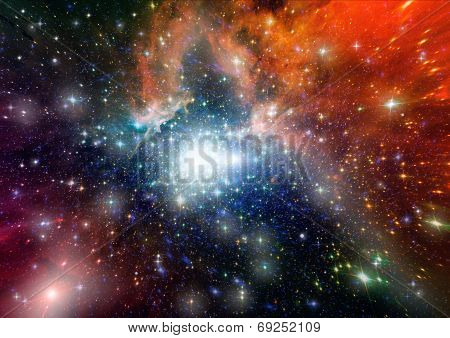 "Stars of a planet and galaxy in a free space  ""Elements of this image furnished by NASA"". poster"