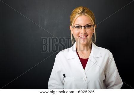 Beautiful blonde female doctor