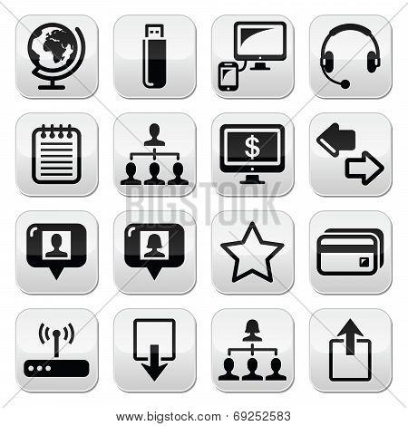 Web, internet simple black vector buttons set