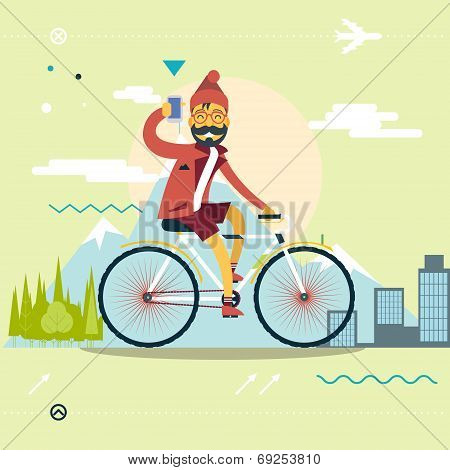 Travel Lifestyle Concept of Planning a Summer Vacation Tourism and Journey Symbol Man Geek Hipster w