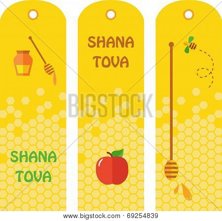 Set of honey labels, badges and design elements for Rosh Hashana.