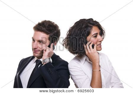 Business team talking on the phone at the meeting