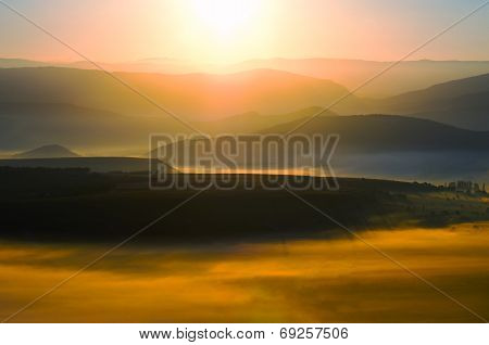 Dawn In The Valley With The Sun
