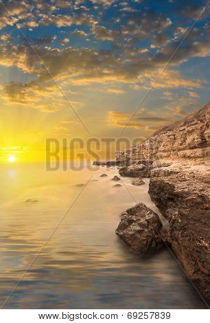 Rocks, Sea, Sunset With Rays.