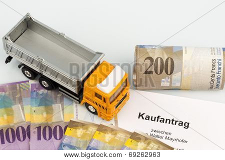 the purchase contract for a new truck with a swiss car dealer. with the swiss franc.