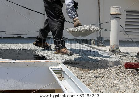Unidentifiable workers use