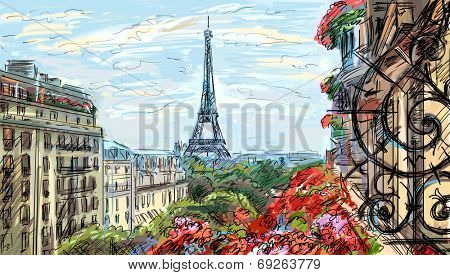 Street in paris. Eiffel tower - illustration
