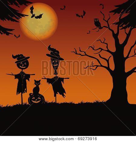 Halloween Landscape, Scarecrows And Pumpkin