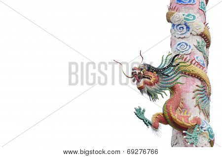 Red Dragon Pole Isolated On White Background poster