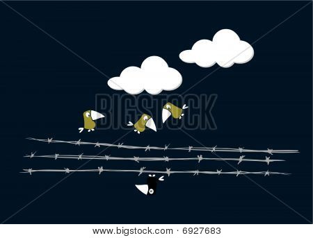 Birds over the wire