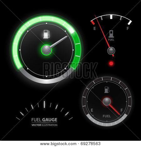Fuel gauge speedometer vector collection set