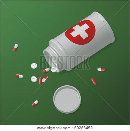 Medicine white plastic bottle with tablets and pills