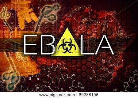 Ebola virus illustration with a map and microscope poster