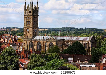 Warwick Cathedral in England in summer