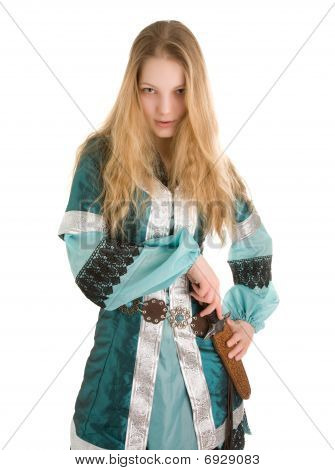 Young elf woman taking knife out on the white background poster