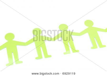 Social Networking With Green Figures (holding Hands)