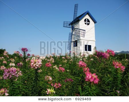 Blue windmill with blue chair and light blue backgournd poster