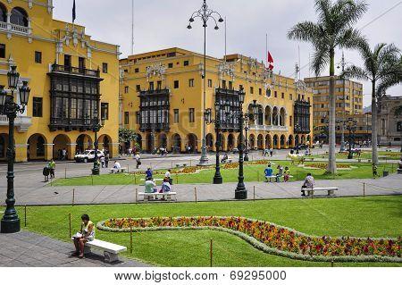 Lima Municipal Building City Hall On Plaza Mayor Armas