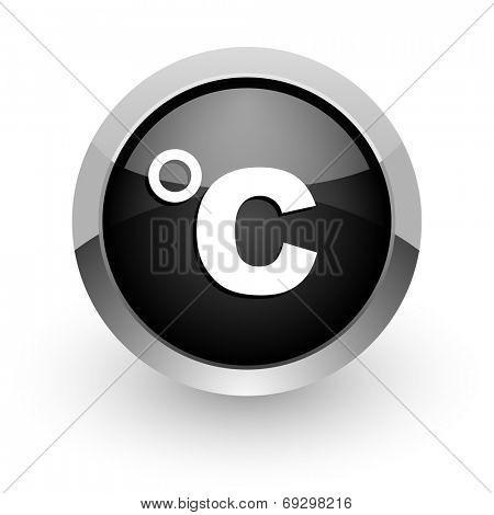 celsius black chrome glossy web icon
